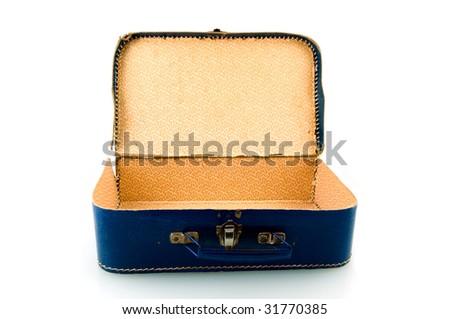 Old blue suitcase on white background - stock photo