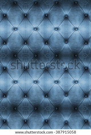 Old blue Vintage leather close-up and detail Sofa background - stock photo