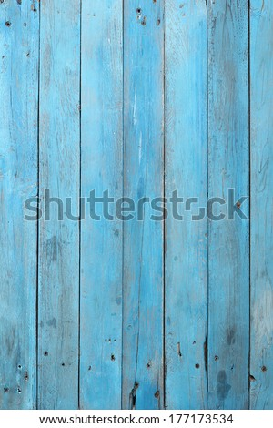 Old blue wood plank background - stock photo