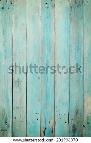 Old blue wood plank background. Vintage style - stock photo