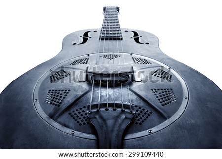 old blues guitar, blue image - stock photo
