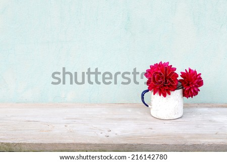 Old boards with flowers vintage concept - stock photo