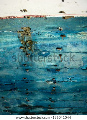 Old boat hull - stock photo