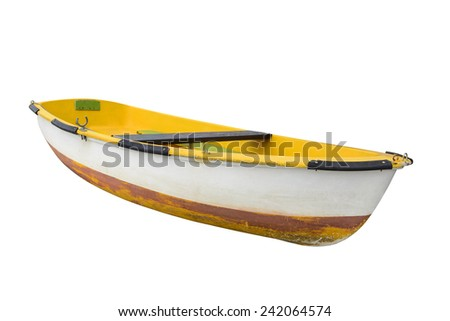 old boat isolated on a white background - stock photo