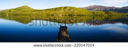 Old boat jetty,Lake Hayes, New Zealand.  - stock photo