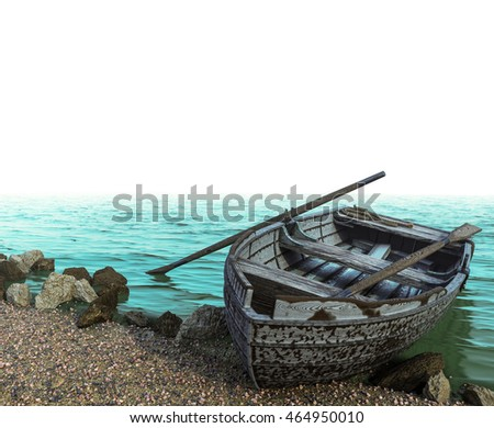 old boat on a pebble beach on isolate white background