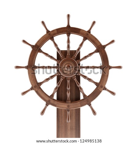 Old boat steering wheel isolated on a white background - stock photo