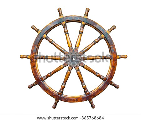 Old Boat steering wheel isolated on white background. - stock photo