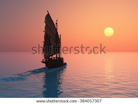 Old boat with sails on a colorful background lanshafty.