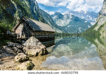 Old boathouse at the Obersee near Koenigssee in Berchtesgaden, Germany