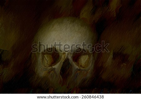 old bones and skulls in the Gothic vault of Kutna Hora. Ossuary. illustration
