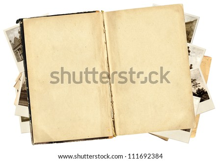 Old book and photos for scrapbooking design. Isolated over white - stock photo