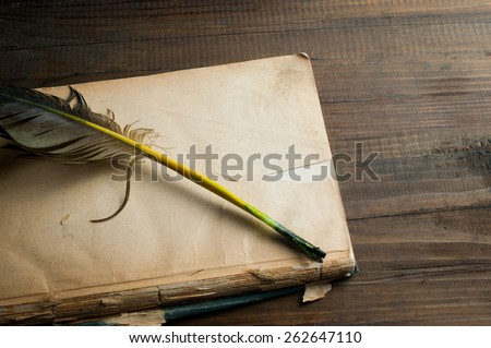 Old book blank page and feather pen - stock photo