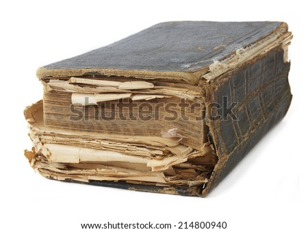 Old  book closeup isolated on white background - stock photo