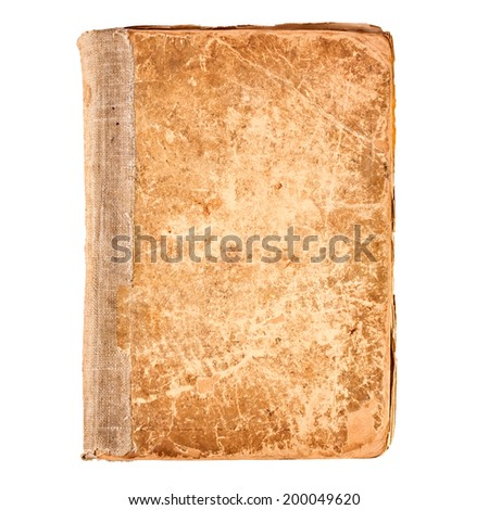 Old book cover, blank texture empty grunge design on white background - stock photo