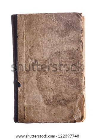 Old book cover isolated on white - stock photo