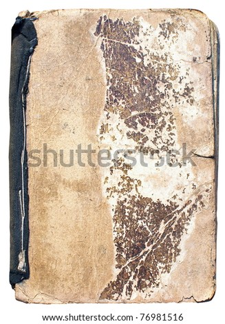 Old book cover, isolated on white background - stock photo