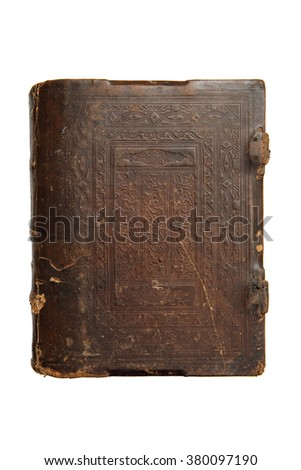 Old book cover, vintage texture, isolated on white background. - stock photo