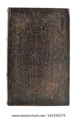 Old book dark leather cover isolated over white background