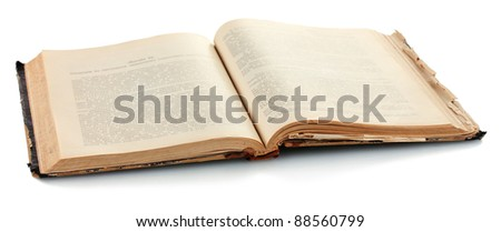 old book isolated on white - stock photo