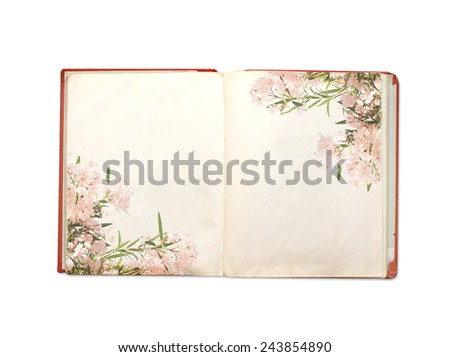 Old book. Objects isolated on white background - stock photo