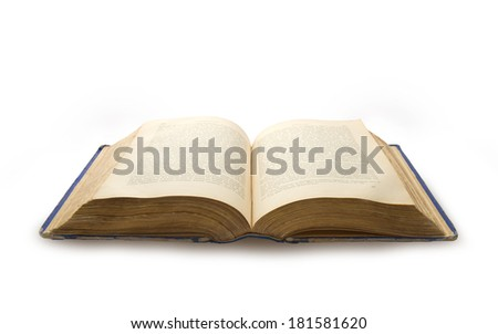 Old book of XIX century isolated on white background - stock photo