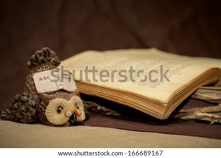 Old book on brown background