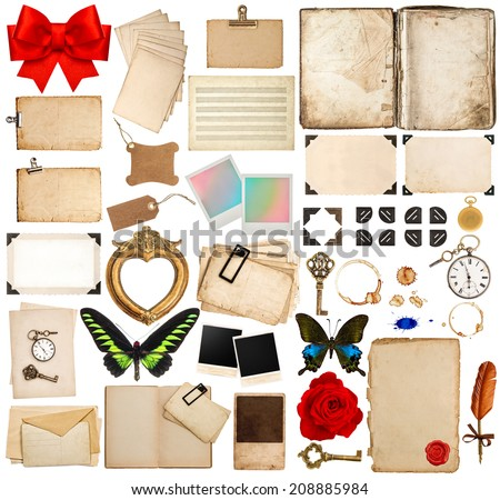 old book pages, paper sheets, cards, corner and photo frames isolated on white background. scrapbook elements for holidays greetings - stock photo