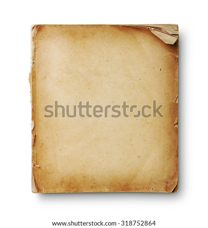 Old book pages with shadow. With clipping path - stock photo
