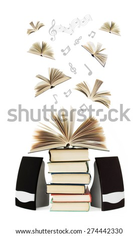 Old book pile and books and music notes flying away isolated on white background. Audio book concept - stock photo