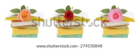Old book pile with rose set isolated on white background. Teacher's day concept - stock photo