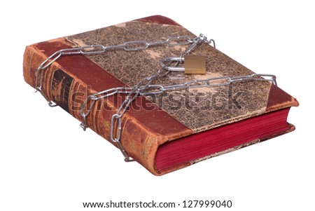 old book protected with chain and padlock - stock photo