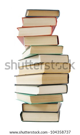 Old book stack isolated on white background