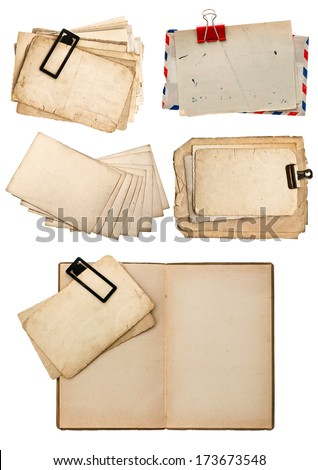 old book, vintage postcards and paper isolated on white background. retro design - stock photo