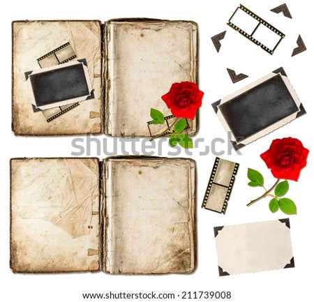 old book with aged pages isolated on white background. scrapbook elements rose flower, photo frame, film strips - stock photo