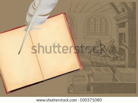 Old book with feather and typography workshop illustration - stock photo