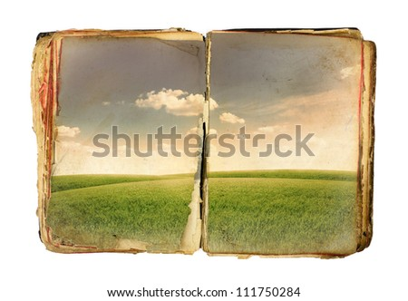Old book with field on sheets over white background - stock photo