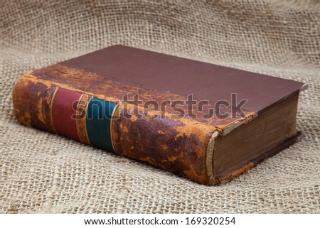 old book with leather binding - stock photo