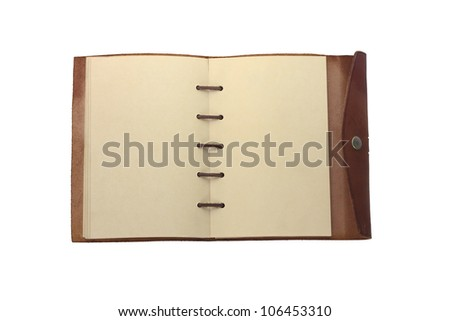 Old book with leather cover - stock photo