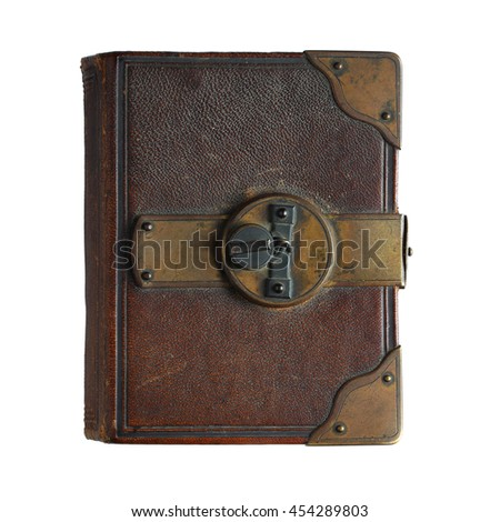 Old book  with lock isolated on white background