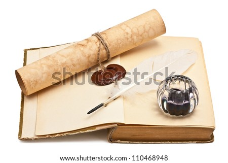 Old books and old paper with a wax seal - stock photo
