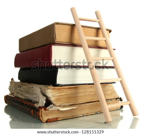 Old books and wooden ladder, isolated on white