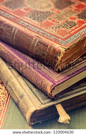 Old books close up - stock photo