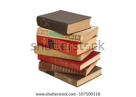 old books in a stack isolated - stock photo