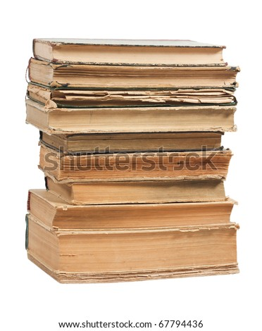 Old books in a stack on white background