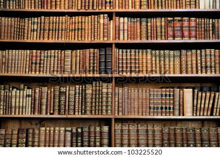 Old books in the Library of Vienna. - stock photo