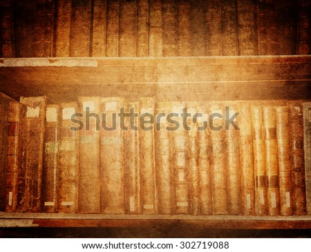 Old books in the Library. Vintage background. - stock photo