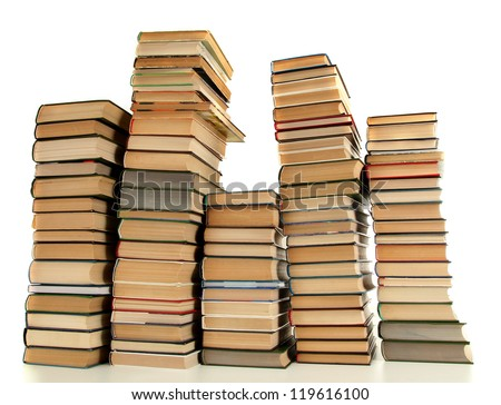 old books isolated on white - stock photo