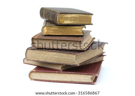old books isolated on white.