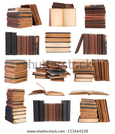 Old books isolated on white background - stock photo